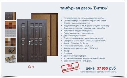 Тамбурная дверь Витязь. цена с установкой под ключ 37950 руб.