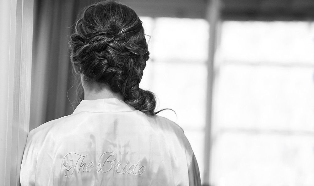 a bride's robe from the back