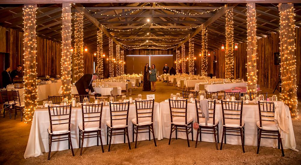 desert foothills elegant barn, filled with fairy lights