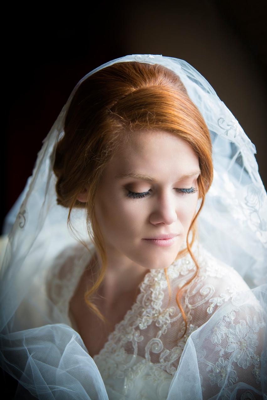 a bridal portrait, taken during the prep stage by Rachel Leintz, Wedding Photographer