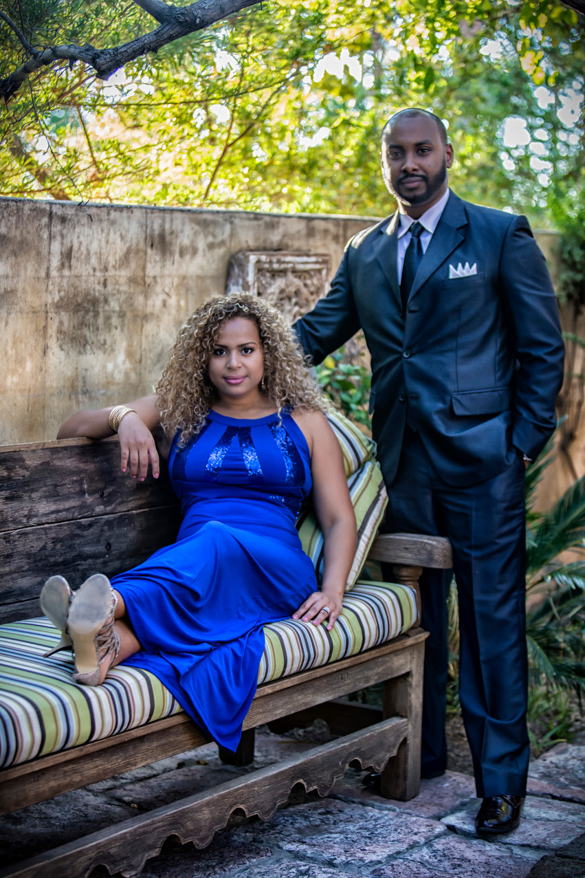 A stunning couple poses at the Royal Palms during an engagement shoot, shot by Rachel Leintz, Wedding Photographer