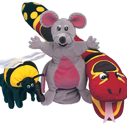 Jolly Phonics Puppets Set (Inky, Snake & Bee)