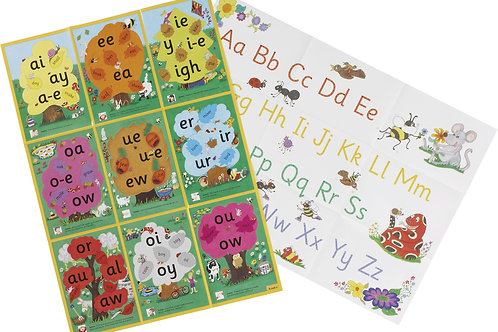 Jolly Phonics Alternative & Alphabet Posters (US / in print letters)