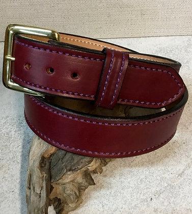 """35"""" Burgundy English Bridle Leather Belt"""