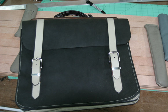 Black and Cream Horween leather Messenger bag