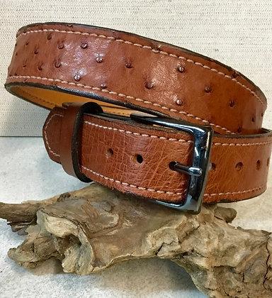 "41"" Almond Ostrich Leather Belt"