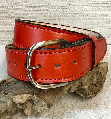 """32"""" Chili Pepper Red Leather Belt"""