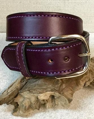 """30"""" Eggplant Purple Leather Belt"""
