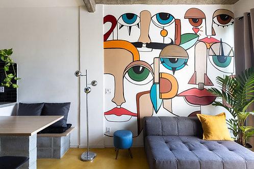 Studio retrofit na Santa Cecília ao lado do metrô - 44m², 1 dormitório, sem vaga