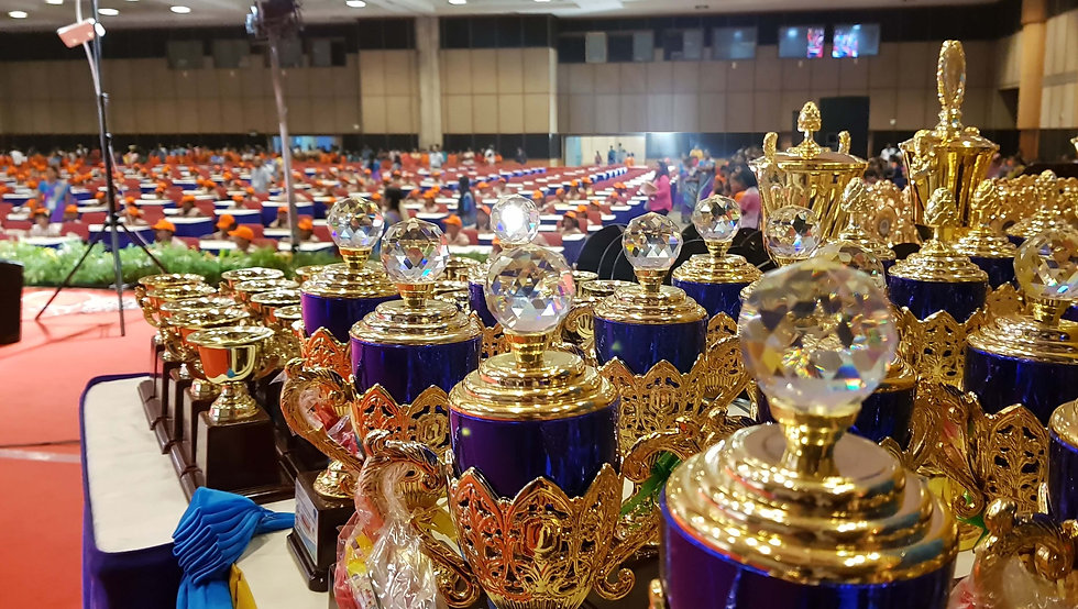 Trophies Arranged In The Competition For Prize Distribution