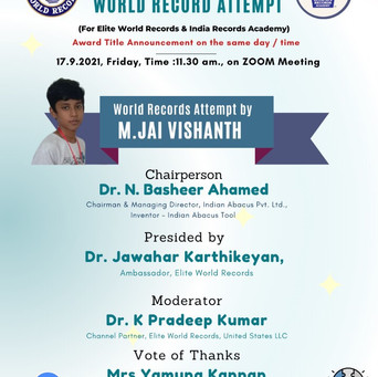 INDIANABACUS AN OFFICIAL  WORLD RECORD ATTEMPT by M.Jai Vishanth and Lajitha today on Zoom