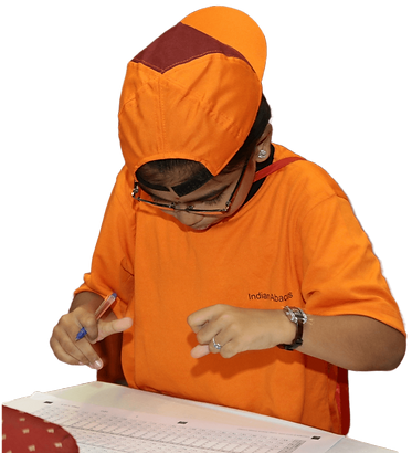 indian abacus student doing arithmetic sums