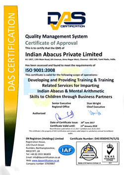 ISO 9001 2008 CERTIFICATE - INDIAN ABACUS