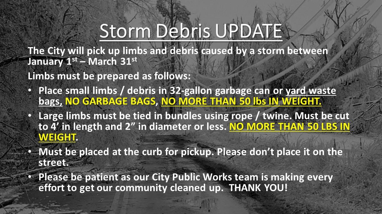 Storm Debris Update
