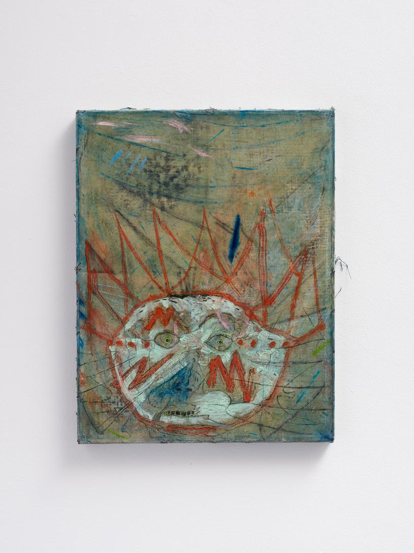 ~ A T an onion. 2015-18. oil paint, oil pastel and pencil on linen. 45.5 x 35.5 cm