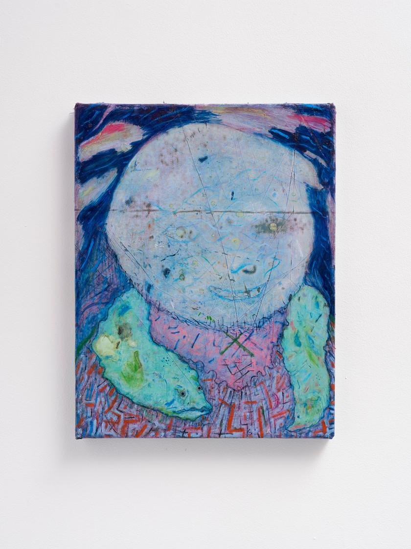 ~ R M rabbit hutch grab. 2015-18. oil paint on linen. 45.5 x 35.5 cm