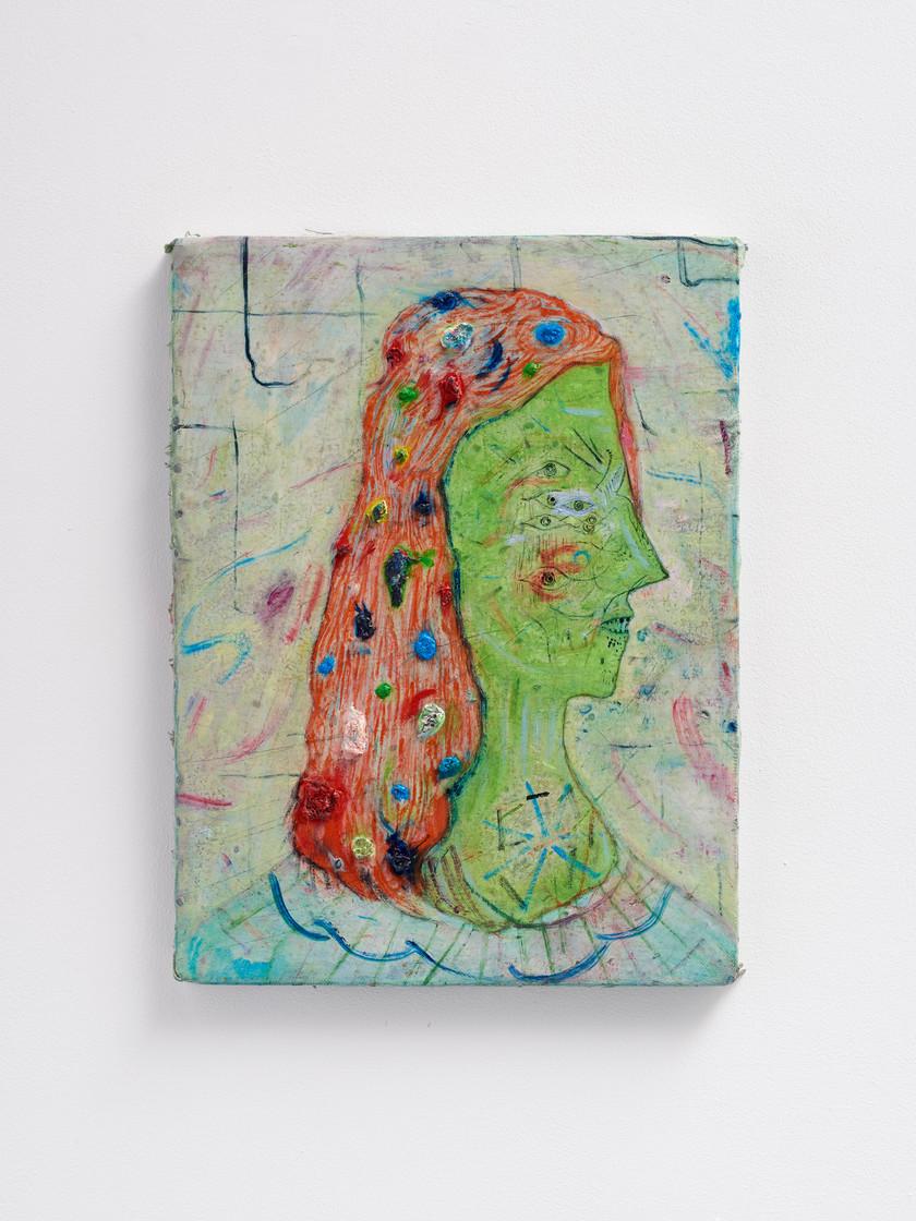 ~ M B  arctic egg. 2015-18. oil paint, oil pastel and pencil on linen. 45.5 x 35.5 cm