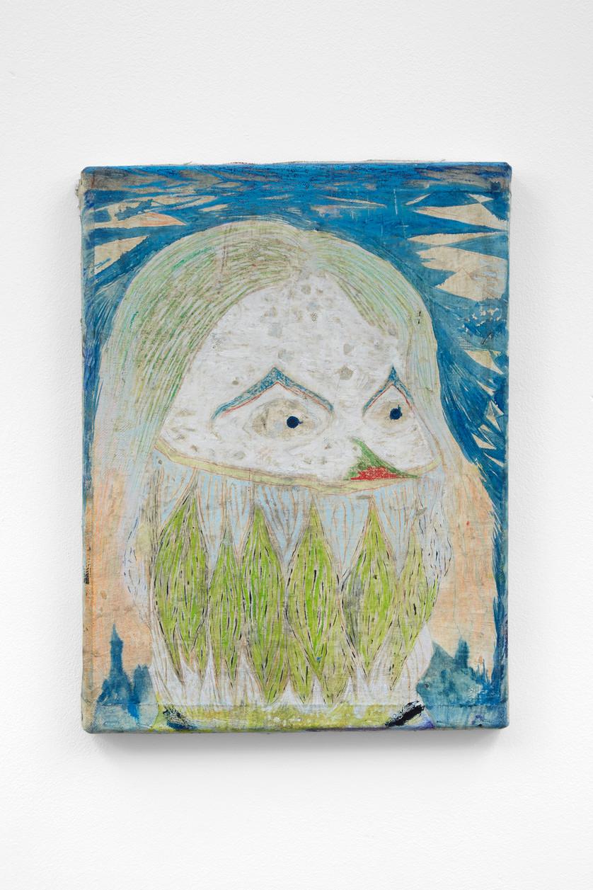 ~ teeth where fingernails should be. 2015-17. oil paint, oil pastel and pencil on linen. 40.5 x 30.5 cm