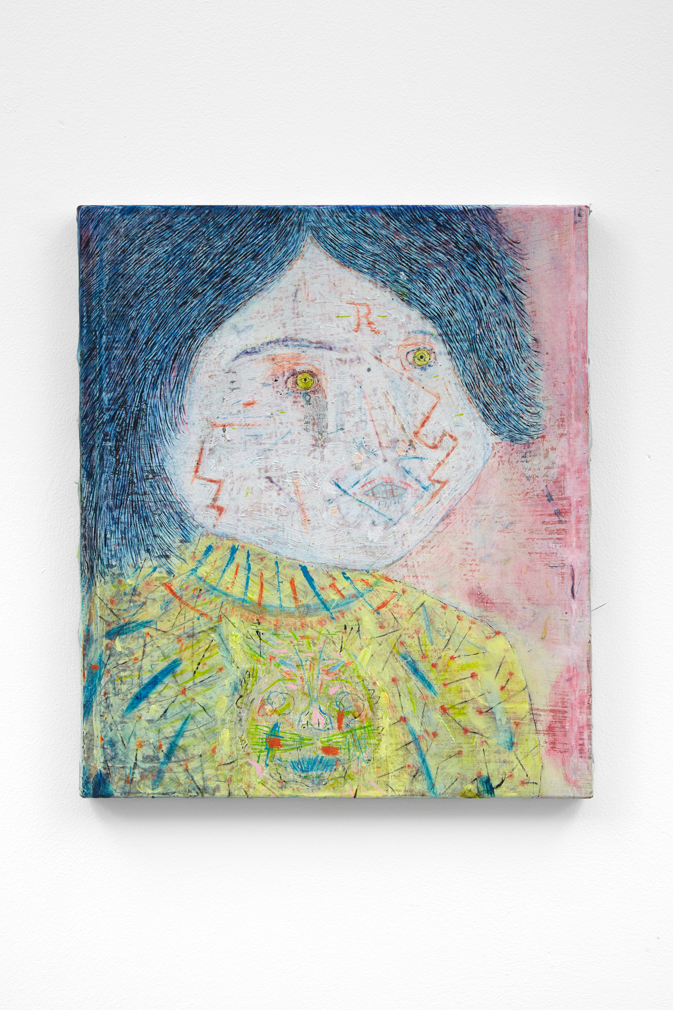 ~ the invisible brother. 2015-17. oil paint, oil pastel and pencil on linen. 41 x 35.5 cm