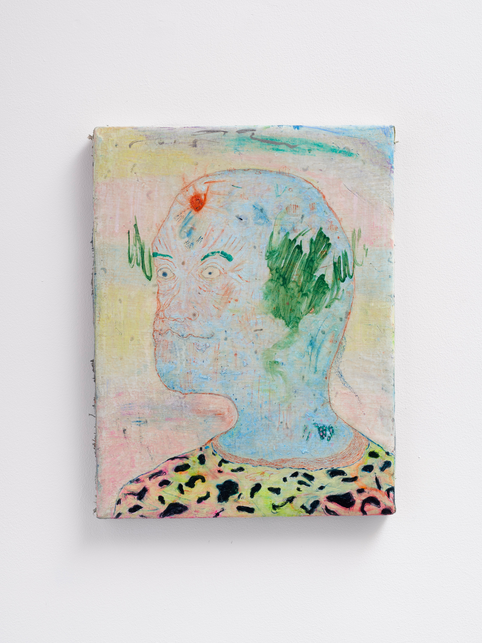 ~ R T a spicy migraine grease. 2015-18 - oil paint, pastel and pastel on linen. 45.5 x 35.5 cm