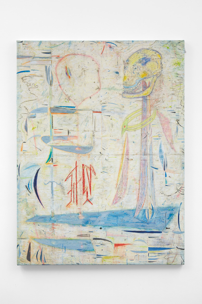 ~ spare room, 2015-17. oil paint, oil pastel and pencil on linen. 120.5 x 90 cm