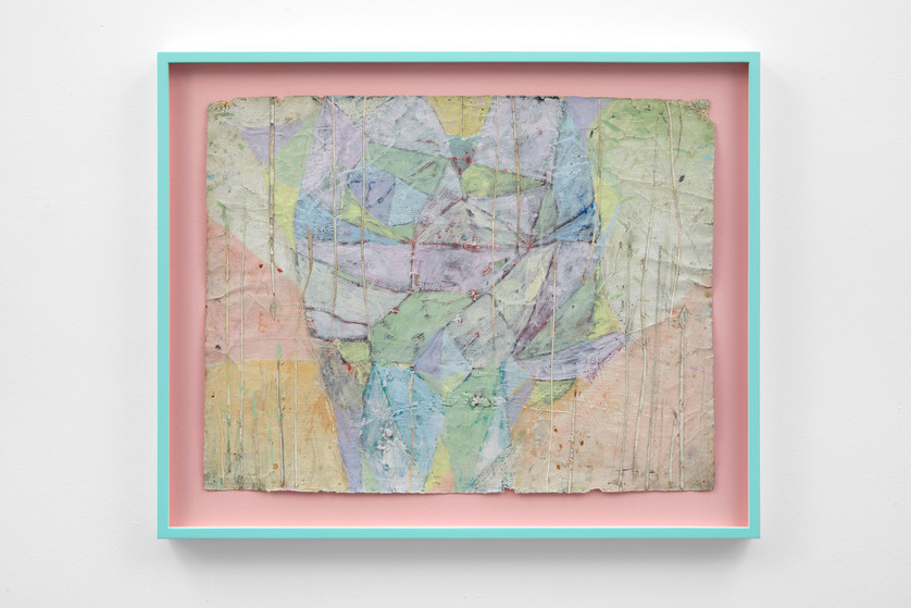 ~ the fizzing Pinn. 2011-17. oil paint, oil pastel, pencil and collage on paper. 56 x 64 x 4 cm (framed)