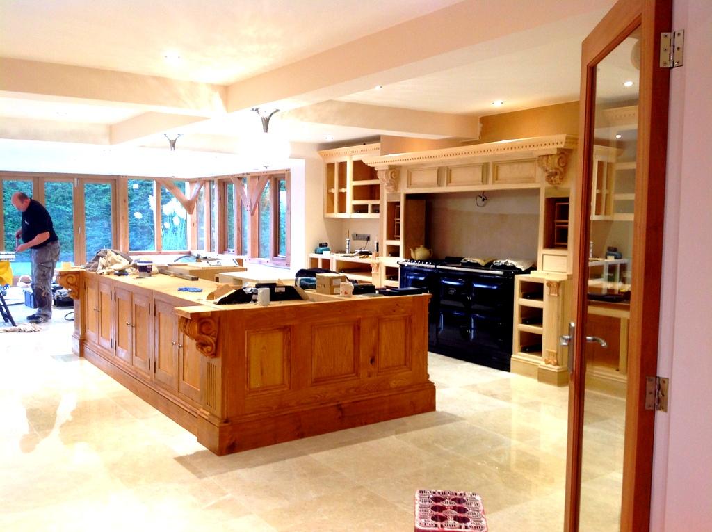 Bespoke Oak Kitchen being Fitted