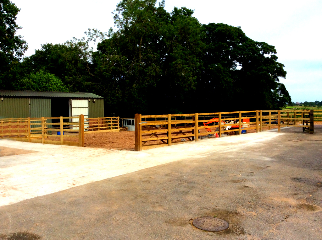 Concrete Driveway and Menage Fencing