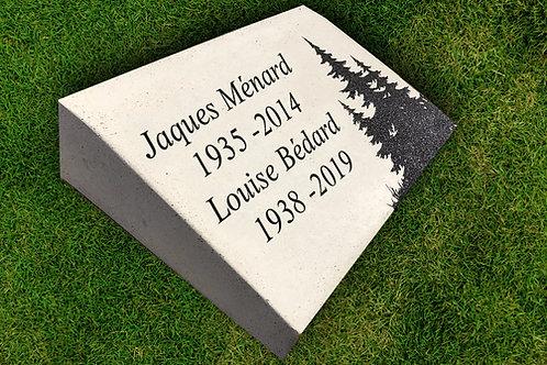 """Plaque funéraire au sol inclinée rectangulaire 12/18"""""""