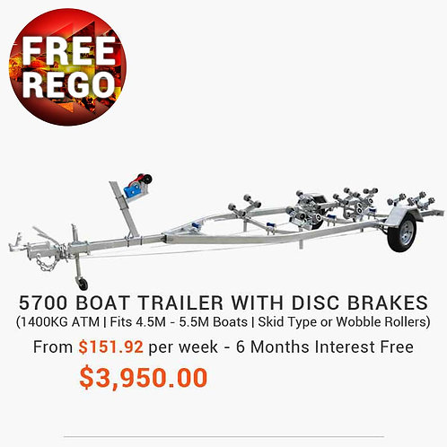 5700 Boat Trailer with Disc Brakes (Wobble Rollers or Skid Type)