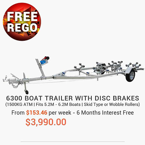 6300 Boat Trailer with Disc Brakes (Wobble Rollers or Skid Type)