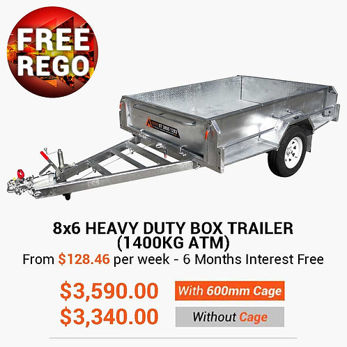 8x6 Heavy Duty Box Trailer (1400KG ATM)