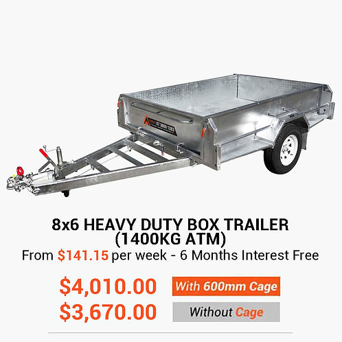 8x6 Heavy Duty Box Trailer (1400KG ATM)