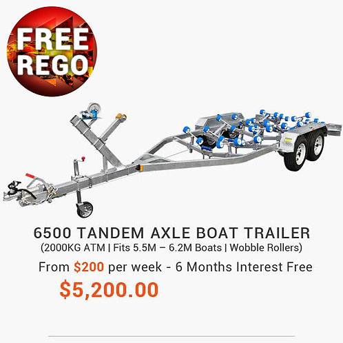 6500 Tandem Axle Boat Trailer with Disc Brakes (Wobble Rollers)