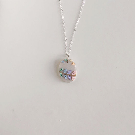 Pastel Leaves Oval Necklace