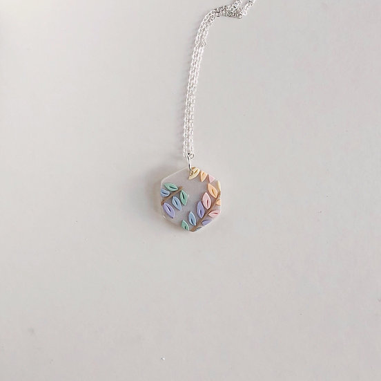 Pastel Leaves Hex Necklace