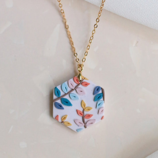 Spring Leaves Hex Necklace