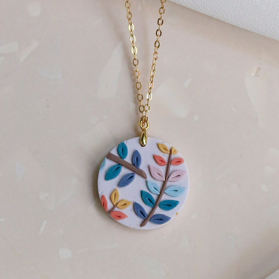 Spring Leaves Circle Necklace
