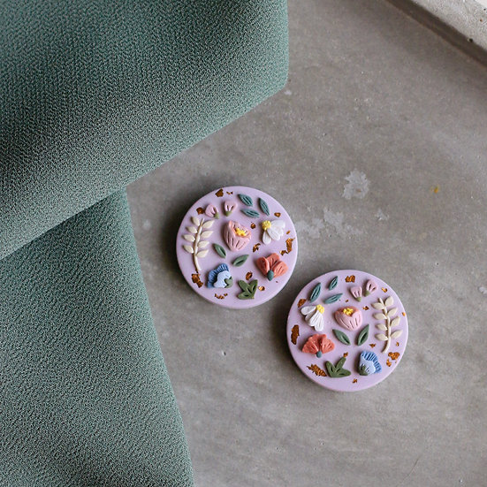 Garden Bloom Circle Stud in Lilac