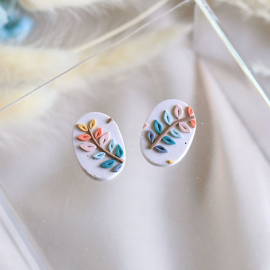 Spring Leaves Oval Studs