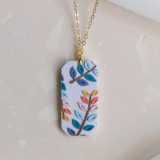 Spring Leaves Gem Necklace