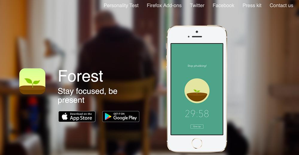 Tela inicial do site do aplicativo Forest