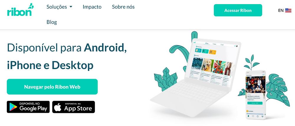 Tela do site do aplicativo Ribon