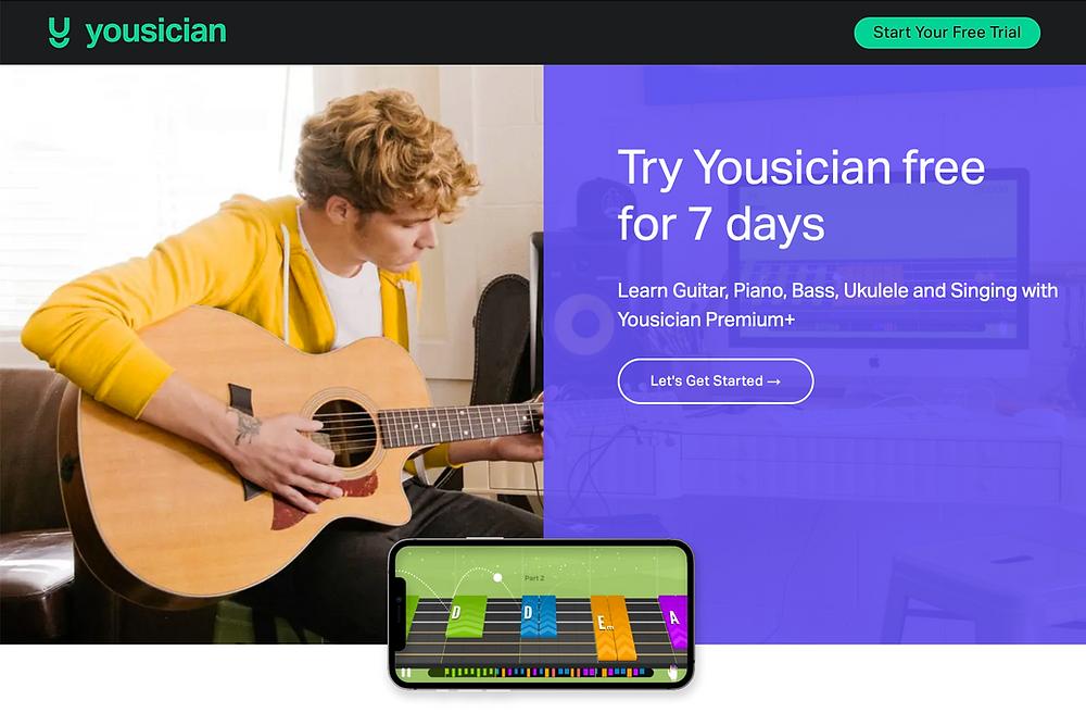 Tela inicial do site da Yousician