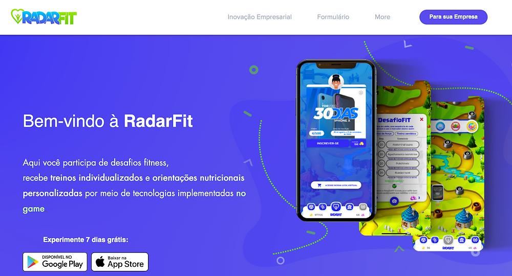 Tela inicial do site da Radar Fit