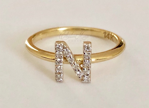Diamond Stackable Intial Ring