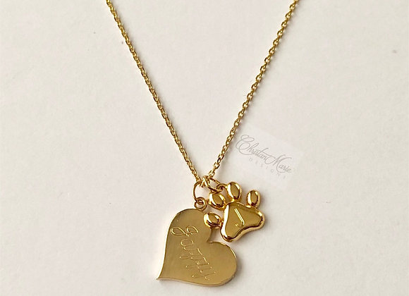 Heart & Paw 14k Gold Necklace