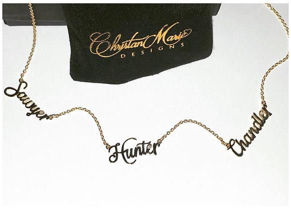 Fancy Script Triple Name Necklace with Diamonds