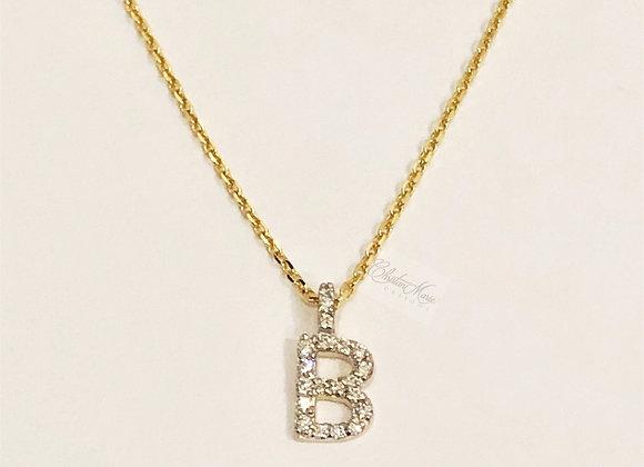Mini Diamond Initial Pendant & Chain