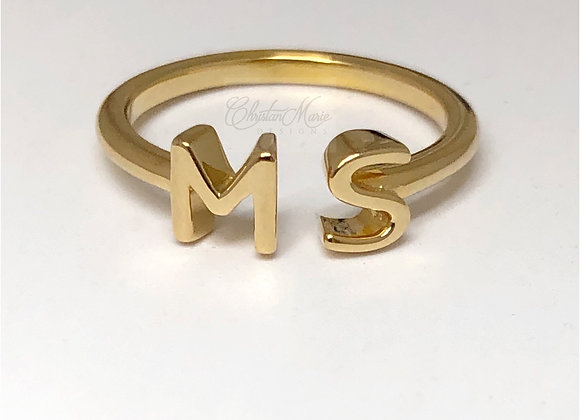 14k Double Initial Ring from